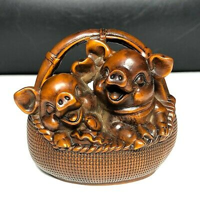 Japanese Netsuke Old Vintage Boxwood Collectible Basket & Pair Happy Pigs Statue
