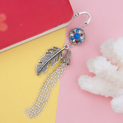 Antique Silver Feather Tassel Crystal Pendant Enamel Bookmarks Reading Supplies