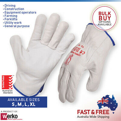 Industrial Leather Riggers Gloves Premium Full Grain Cow Work Driver Glove
