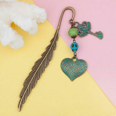 Antique Bronze Green Turquoise Feather Bookmark Key Heart Pendant Stationery