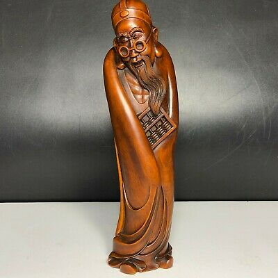 Japanese Netsuke Old Vintage Collectible Boxwood Carve Old Teacher Figure Statue