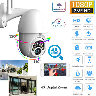 4XZoom PTZ Wifi IP Cámara 1080P HD ONVIF Vigilancia Seguridad Exterior IR Webcam