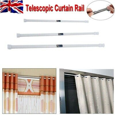 Spring Extendable Telescopic Net Voile Tension Rod Curtain Rail Pole Rods 3 Size