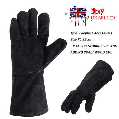 Black 32CM Fireplace Welding Gloves Stove PU Leather Heat Resistant Protect Hand