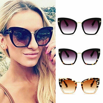 UK Rose Gold Quality Womens Fashion Oversized Mirrored Retro Cat Eye Sunglasses