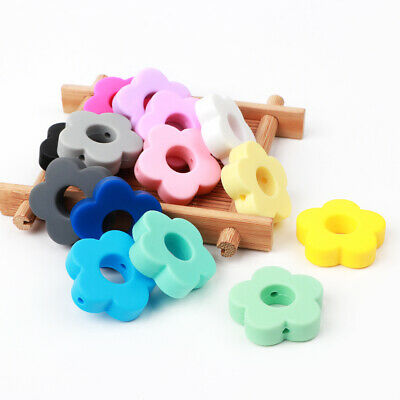 5PC Flower Silicone Beads Baby Teether Bead Teething Toy Pacifier Chain DIY Chew