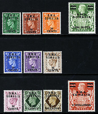 BRITISH OCCUPATION KG VI 1948 Overprinted B.M.A. SOMALIA SG S10 to SG S20 MINT