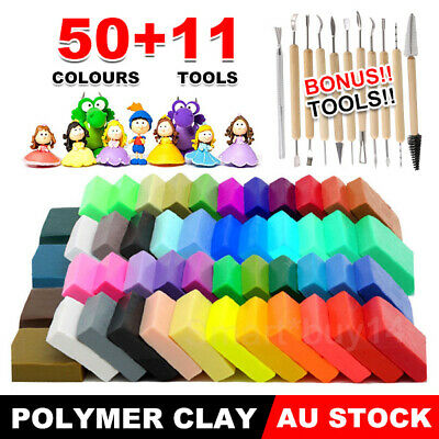 50PCS DIY Craft Malleable Fimo Polymer Modelling Soft Clay Block Set Kids Toy