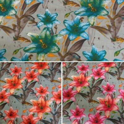 100% Cotton Poplin Fabric By Fabric Freedom Lily Floral Flowers Lilies