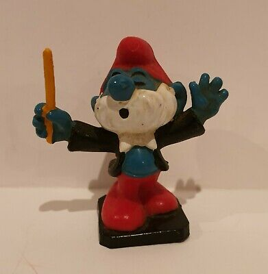 Vintage PAPA CONDUCTOR SMURF 2.0092 Peyo Schleich 1977 *combined postage*