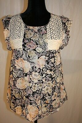 Rene Derhy Embroidered Peach Floral Multicolor Sheer Top S Small