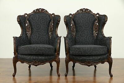 Pair of Vintage Wing Chairs, Carved Lovebirds & Angels, New Upholstery #31375