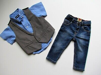 Baby Boys LEVI'S NEXT 3 Piece Outfit age 9-12 12 mths ...Jeans Shirt & Waistcoat