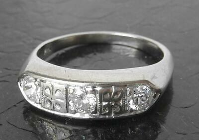 QUALITY 14k White Gold Art Deco .36Ct European Diamond 3 Stone Wedding Band Ring
