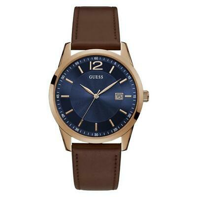 912fb2e9f GUESS Men's 42mm Brown Leather Band Steel Case Quartz Blue Dial Watch  W1186G3