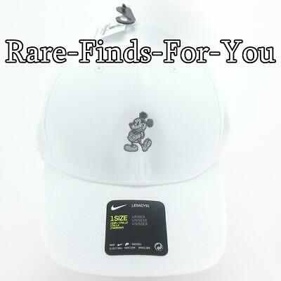 Disney Parks Nike Dri Fit Mickey Mouse White Grey Golf Baseball Cap Hat NEW/TAGS