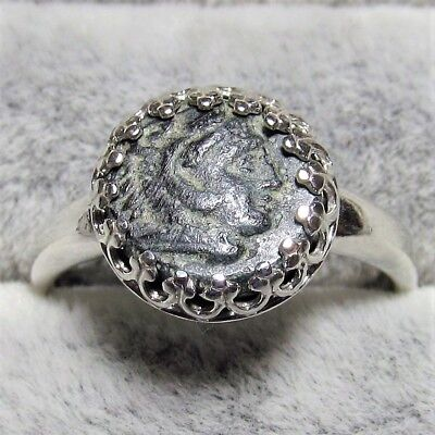 Authentic Ancient Greek Bronze Coin Size 7 Sterling Silver Ring Hercules #131