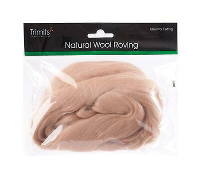 TRIMITS Natural 100% Wool Roving For Needle Felting 50g - CREAM BEIGE