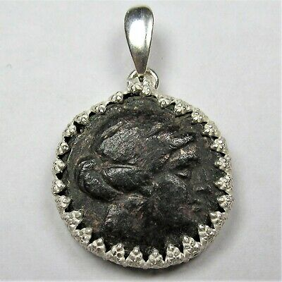 Authentic Ancient Greek Bronze Coin Sterling Silver Pendant Setting Amazon #48