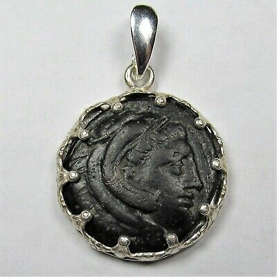 Authentic Ancient Greek Bronze Coin Sterling Silver Pendant Setting Hercules #62