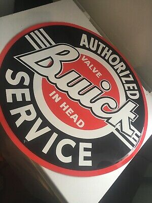"""Buick Authorized Service Large 24/"""" Round Metal Tin Sign Garage Man Cave New"""
