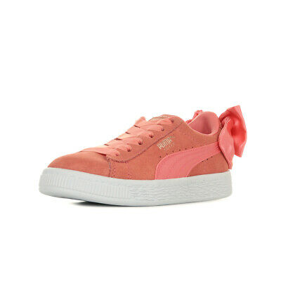 CHAUSSURES BASKETS PUMA fille Suede Bow AC PS taille Rose Suède Elastiques