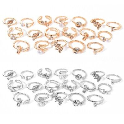 Wholesale Mixed Lots Jewelry 50pcs Crystal Rhinestone Silver/Gold Women's Rings