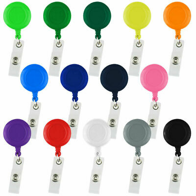 10pcs Retractable ID Card Holder Reel Badge Key Tag Clip Black White