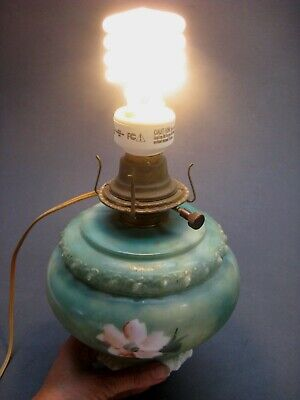 Antique Milk Glass Hand Painted Lamp Globe Green Floral  Wired Works! No Base