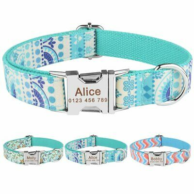 Blue Personalised Dog Collar Custom Name ID Tags Engraved Buckle Small Large XS