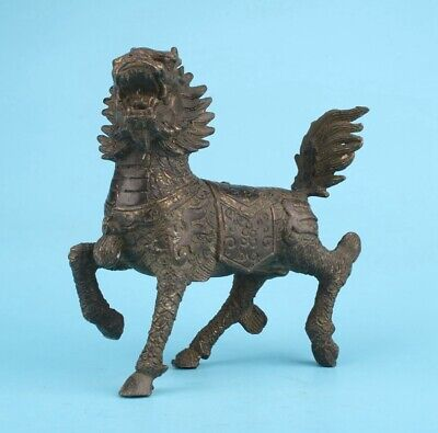 Unique Chinese Bronze Statue Kylin Old Mascot Home Decoration Collection Gift