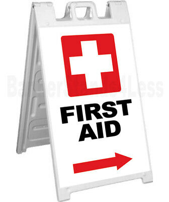 FIRST AID - Double Sided Sign A-Frame Sidewalk Pavement Signicade Sign