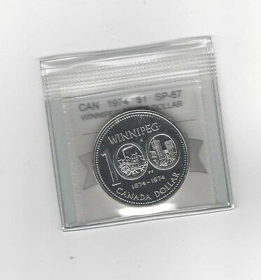 **1974**, Coin Mart Graded Canadian Silver Dollar **SP-67**