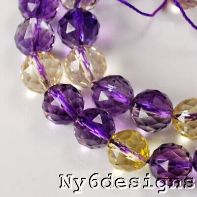 """AAA+ 8x8mm Natural Ametrine Faceted Round Beads 14""""(OT126)b"""