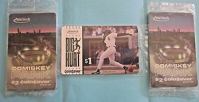 Frank Thomas Big Hurt & White Sox Comiskey Park Phone Cards in cello =  3 cards