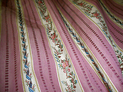 Antique French Floral Roses Stripe Lisere Brocade Cotton Fabric ~ Rose Pink Blue