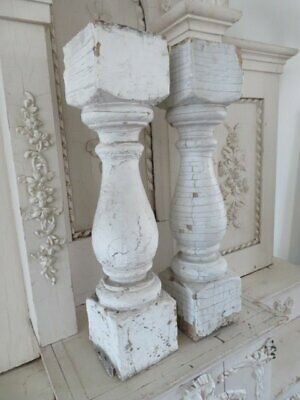 """OMG Pair Old WOOD POSTS BALUSTER ChunkyTime Worn White Chippy PATINA 21"""" TALL"""