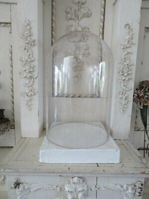"AWESINE Large 15"" Tall Old Vintage GLASS DISPLAY DOME CLOCHE & White WOOD BASE"