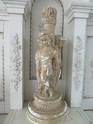 OMG Old Vintage STATUE 3 Sweet CHERUBS Holding Hands in Circle Chippy Patina