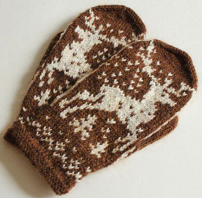 7c02db7cf9d HAND KNITTED HAND Knit Fair Isle Men's Gloves Mittens Merino Wool Kid  Mohair NEW