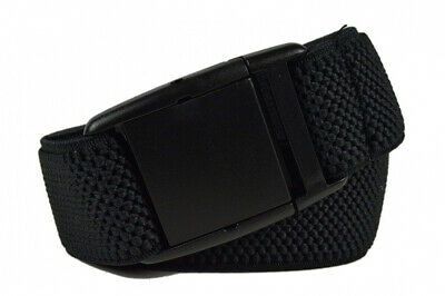 Mens/Womens Fully Adjustable Stretch Belt with Plastic Clip Buckle Black