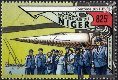 Air France CONCORDE 205 (F-BVFA) Airliner Aircraft & Crew Stamp (2016 Niger)