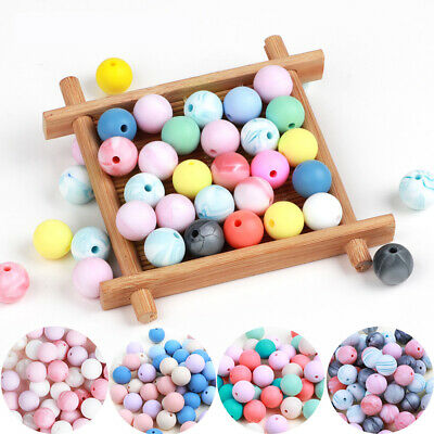 10PC Silicone Beads Baby Teether Teething Toys Bead Pacifier Chain Necklace 15mm