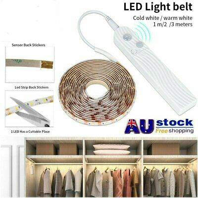 LED PIR Motion Sensor Activated Light Strip Wardrobe Cabinet Battery Operated AU