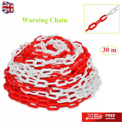 30m Warning Chain Red and White Plastic Warehouse Caution Safe Barrier Security