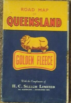 Golden Fleece Road Map of Queensland QLD Collectable Vintage H.C Sliegh