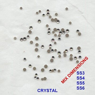 MIX FB10 *** 80 strass Swarovski fond plat mix dimensions:SS3,4,5,6 CRYSTAL
