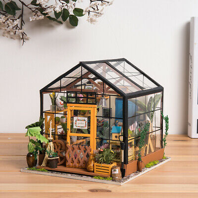 Rolife DIY Wooden Dollhouse Kits Miniature Furniture LED Cathy's Flower House