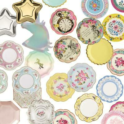 Paper Plates Party All Design Floral Vintage Tea Party Birthday Alice Rose Gold