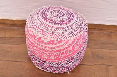 "Indian Ombre Mandala Pink 22"" Round Pouf Cover Ottoman Footstool Pouffe Covers"